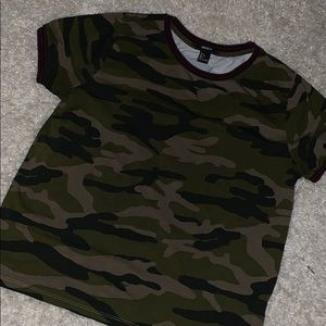 Maroon and green camo top